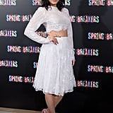Vanessa Hudgens wore a white crop top.