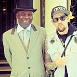 Joel Madden with a friend in London.