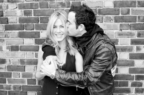 Justin Theroux planted a kiss on Jennifer Aniston's cheek in late 2011.  Source: Terry's Diary
