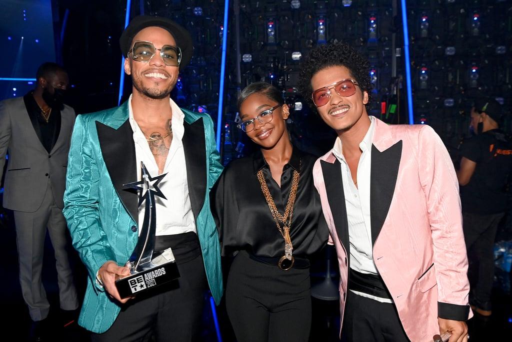 Marsai Martin, Anderson .Paak, and Bruno Mars at the BET Awards