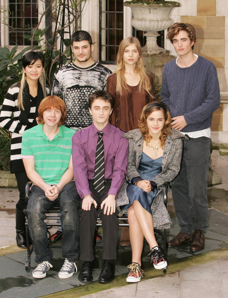 Rob and his Harry Potter and the Goblet of Fire costars Katie Leung, Stanislav Ianevski, Clemence Poesy, Rupert Grint, Daniel Radcliffe, and Emma Watson were together for an October 2005 photocall.