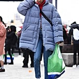 Winter Outfit Idea: An Oversize Puffer, Hoodie, and Jeans