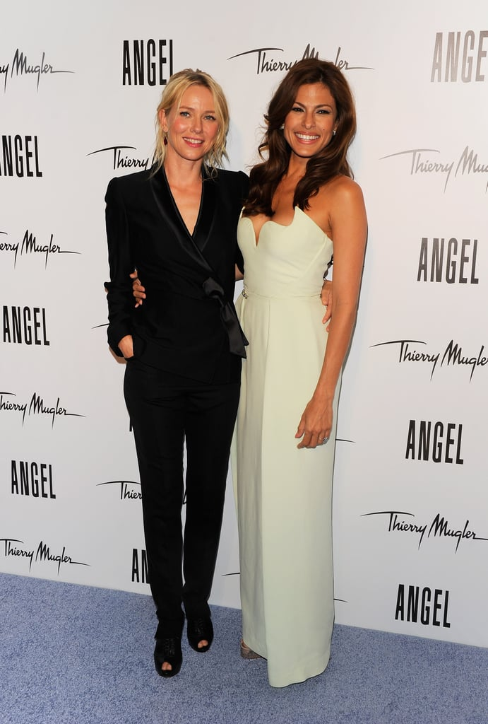 "Naomi Watts and Eva Mendes were together in NYC last night to attend a bash thrown by Thierry Mugler. Former face of the brand's Angel fragrance Naomi was there to celebrate the title being passed to Eva, who stars in the latest ads. Eva sparkled on the pale blue carpet in a dress from Mugler's creative director and close Lady Gaga pal Nicola Formichetti. Naomi's moved on to a beauty contract with Pantene, and we recently got her Summer beauty tips at another Big Apple event. Eva Mendes's new campaign with Thierry Mugler was shot by Inez van Lamsweerde and Vinoodh Matadin, and the accompanying TV spot will even feature her singing! Eva spoke yesterday about all the hard work that goes into making her look so fantastic for Mugler, saying she more thinks of herself as cute. Eva Mendes said of her looks, ""I'd rather be on team cute because I think it's harder to be cute. I think when a guy pays me that compliment of being cute or adorable that feels like a real compliment . . . because being hot I think is all smoke and mirrors. I mean at a certain point! I think it takes more personality to be cute so I think it's more of a deeper compliment."""