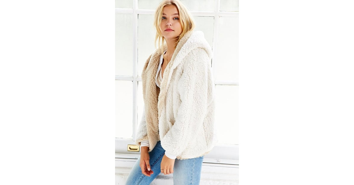 Urban Outfitters Ecote Fuzzy Reversible Jacket ($89) | Gigi Hadid Wearing All White January 2016 ...
