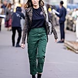 Feeling fashion-forward? Top a sporty pair of cargos with a blazer and add ankle boots for the finish.