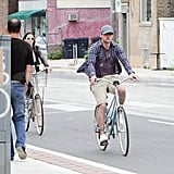 Justin Timberlake and Jessica Biel on a bike ride.