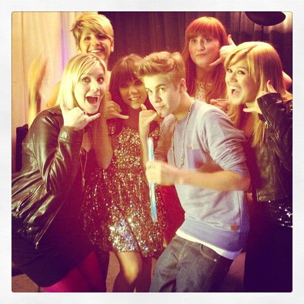 Carly Rae Jepsen shared a picture of herself getting silly with Justin Bieber and Kelly Clarkson. Source: Instagram user carlyraejepsen