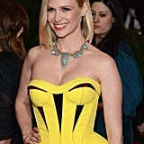 January Jones looked stunning in hot yellow Versace.