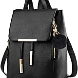 Coofit Black Faux Leather Backpack For College