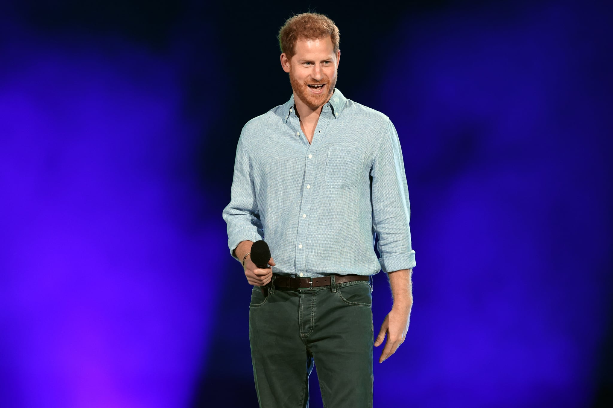 INGLEWOOD, CALIFORNIA: In this image released on May 2, Prince Harry, The Duke of Sussex, speaks onstage during Global Citizen VAX LIVE: The Concert To Reunite The World at SoFi Stadium in Inglewood, California. Global Citizen VAX LIVE: The Concert To Reunite The World will be broadcast on May 8, 2021. (Photo by Kevin Winter/Getty Images for Global Citizen VAX LIVE)