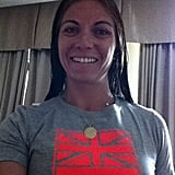 Olympic volleyball player Misty May-Treanor showed off her new shirt. Source: Twitter user MistyMayTreanor