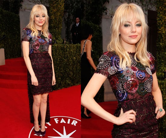 Pictures of Emma Stone in Chanel at Vanity Fair Oscars Party 2011