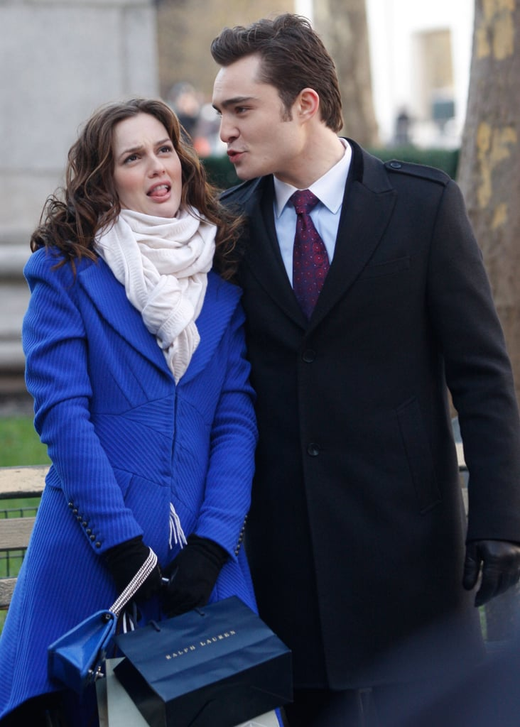 Leighton Meester joked around with Ed Westwick in December 2009.