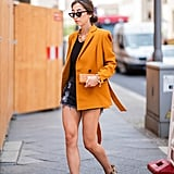 Style a Bright Blazer With Denim Shorts and Heels