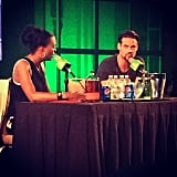 Aisha Tyler doing her podcast thing with Landon Car . . . er, Shane West.