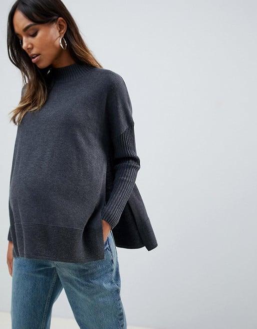 ASOS DESIGN Maternity Nursing Eco Boxy Sweater With Ripple Hem