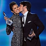 Ian Somerhalder gave Nina Dobrev a kiss when they accepted the award for favorite onscreen chemistry.