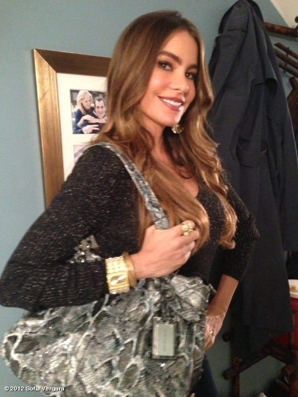 Sofia Vergara showed off her clothing collection on the set of Modern Family. Source: Sofia Vergara on Who Say