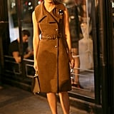Caroline Issa set off her trench dress with statement heels at the Paris Made Fashion Week bash.
