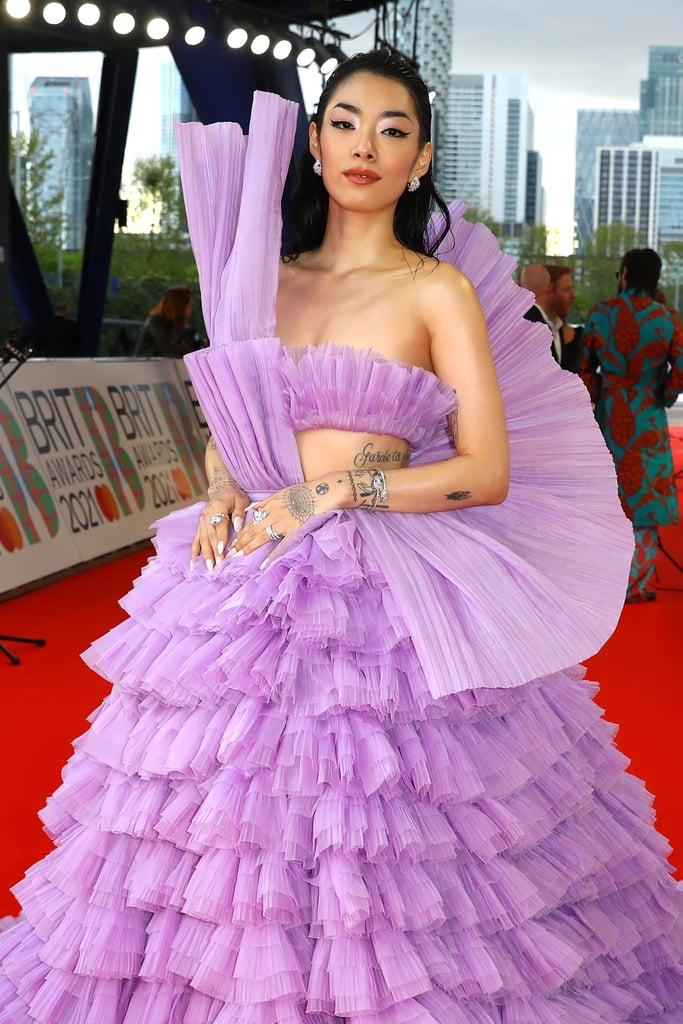 See Rina Sawayama's Purple Dress at the 2021 BRIT Awards