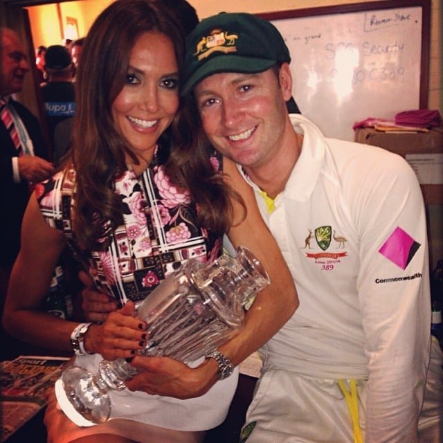 """Kyly and Michael Clarke cradled their """"new baby."""" Source: Instagram user kylyclarke"""