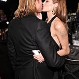 Angelina Jolie and Brad Pitt shared a kiss at the SAG Awards.