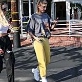 Hailey Baldwin Snoop Dogg Shirt and Yellow Sweatpants
