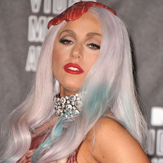 Lady Gaga's Wildest Look of 2010: Gray Locks and Raw Meat