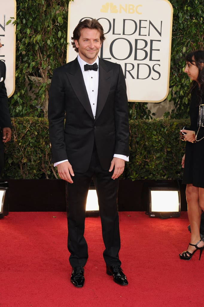Bradley Cooper once again hit a red-carpet home run when he attended the Golden Globes in a classic Tom Ford black tux. The actor is nominated for best actor in a musical or comedy for Silver Linings Playbook. Bradley has already scooped up a best actor in a comedy award at the Critics' Choice Awards on Thursday night as well as an award for best actor at the National Board of Review award gala. Bradley's award-season tour isn't over yet; he's also nominated for an Oscar for best actor for his role in the film. Be sure to weigh in on our red-carpet and fashion polls and share your favorite Golden Globes looks.
