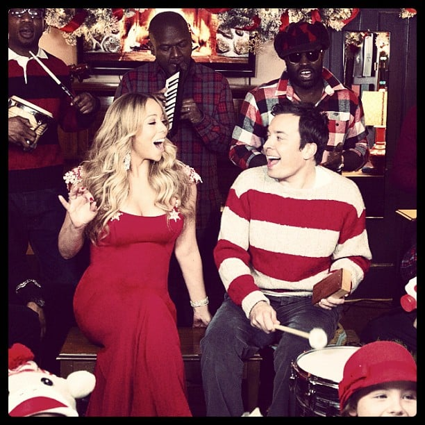 Mariah Carey sang Christmas carols with Jimmy Fallon and The Roots. Source: Instagram user jimmyfallon