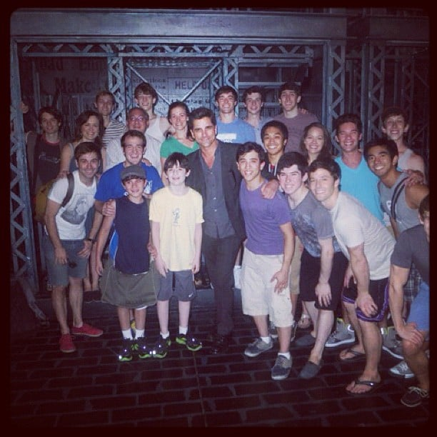 John Stamos posed with the cast of the Broadway play Newsies. Source: Instagram user jockostamps