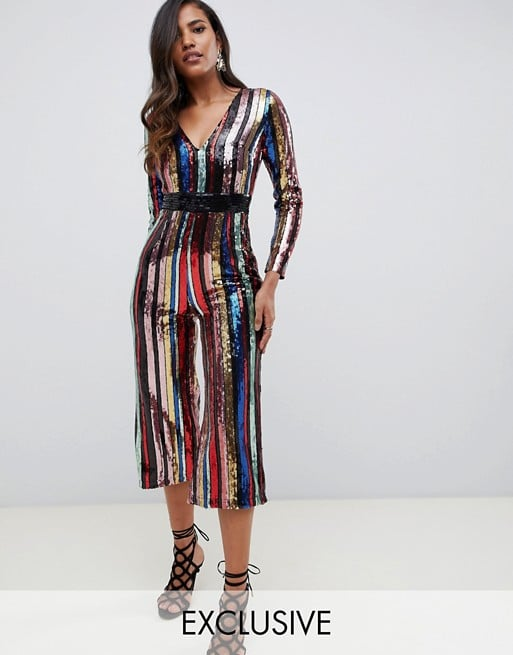 77caf109 Starlet Plunge Front Culotte Jumpsuit in Rainbow Stripe | Jumpsuits ...