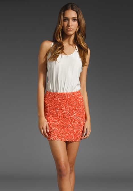 We love how this colorblock dress pretty much does the work for you.  Parker Cluster Sequin Tank Dress ($253)