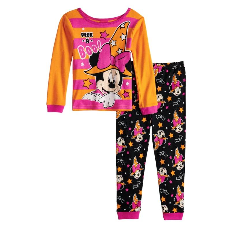 minnie mouse glow in the dark halloween pajama set