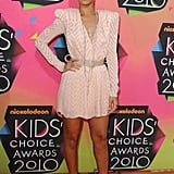 Rihanna's bold-shouldered appearance at the 2010 awards was all thanks to Christian Dior's structured minidress and Brian Atwood pump.