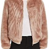 Mother The Letterman Faux Fur Bomber Jacket