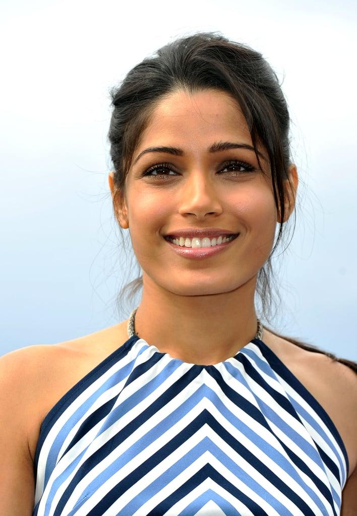 Freida Pinto smiled for the Desert Dancer photocall at the Cannes FIlm Festival.