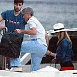 Stacy Keibler held onto George Clooney's hand while they visited Lake Como in June.