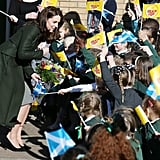 When Kate Took Time Out to Talk to Her Young Admirers