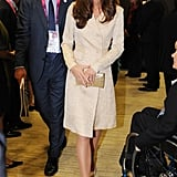 The Duchess teamed it with her favourite LK Bennett Sledge Shoes and a Wilbur and Gussie clutch.