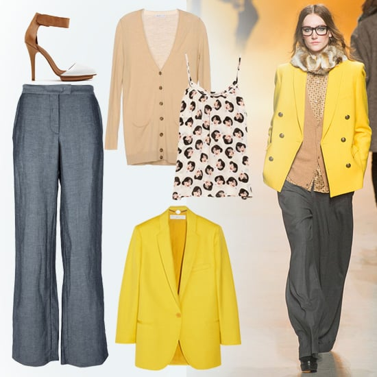 This bright, work-appropriate look from Paul & Joe's Fall show is perfect for wearing to the office. Start with a pair of wide-legged gray trousers, then layer up with a printed silk tank, lightweight cardigan, and bright blazer. If the weather warms up throughout the day, you ditch the sweater or the jacket and still have a completely chic ensemble. Shop this look:  See by Chloé Cardigan ($198) Tucker Printed Silk Georgette Tank ($186) Stella McCartney Slub-Twill Blazer ($559, originally $1,595) See by Chloé Wide-Leg Trouser ($232) Nasty Gal Solitaire Platform Pump ($138)