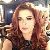"""Debra Messing had a laugh a when her Smash costar Megan Hilty photo-bombed her snap, calling it """"creepy"""" and """"sneaky."""" Source: Instagram user therealdebramessing"""