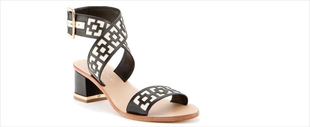 Trina Turk Black and White Geometric Avalon Sandals