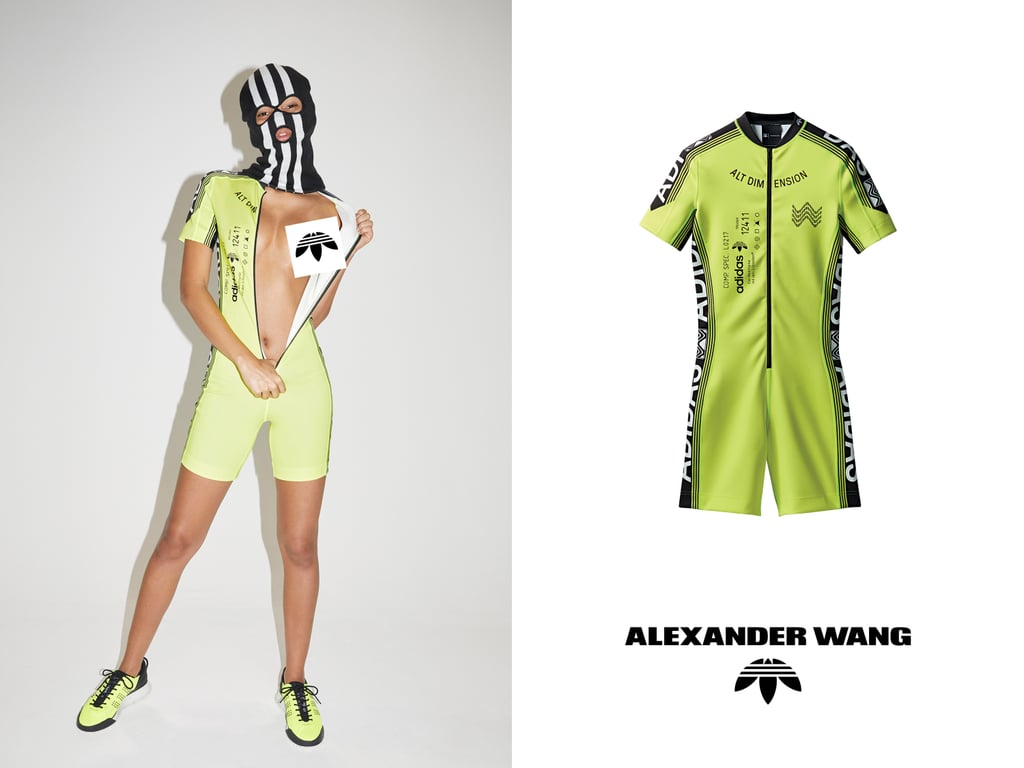 """Whether you're going to a rave, going for a bike ride, or simply trying to infuse a little energy into your wardrobe, the first drop of the new Adidas Originals by Alexander Wang season two collection has you covered. With bright sneakers, bodysuits, and face masks (because why not?), the unisex collaboration pushes the street style limits in ways we've come to predict from Wang.    """"This collection fuses contrasting experiences — raving and cycling — to present the story of a tribe of New York bike messengers. Fueled by adrenaline and excess, the protagonists of the campaign symbolize a youthful spirit of freedom,"""" the press release reads. In addition to the """"raver chic"""" sweats and sexy biker shorts, the collection includes a brand-new sneaker we're especially focused on — the AW Hike Lo — in neon yellow and red options, and we have a feeling we'll be seeing stars like Bella Hadid and Kendall Jenner rock the design all season long. Originally, billboards and posters around New York City displayed a phone number and product code for each of the pieces, which shoppers could text, instantly purchasing the items to be delivered to that very spot. But if you missed the chance to embrace the theme of the collection and partake in the mysterious delivery service, drop one of the collaboration will be available on Aug. 5 at select Alexander Wang and Adidas Originals stores and online at alexanderwang.com and adidas.com/originals. Read on to see the colorful campaign and product images."""