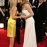 """Reese Witherspoon met Kate Winslet in 2007, and they've been buddies since. Reese said of their friendship, """"Imagine my good fortune when Kate Winslet moved into my neighborhood, rang my doorbell, and said, 'Dahling, Sam [Mendes] is off shooting and I believe our children are the same age. Could they possibly have a playdate, and, oh, by the way, it's almost 9 o'clock and I've had nothing to drink — do you have any wine?'"""""""