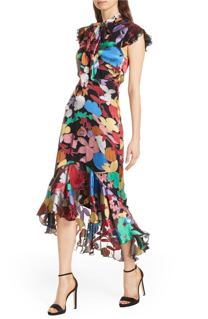 655beabd7d2 Alice + Olivia Lessie Tie Neck Silk Blend Ruffle Dress