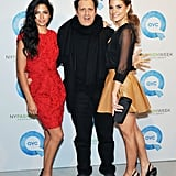 Camila Alves with Maria Menounos and Isaac Mizrahi at QVC's runway show.
