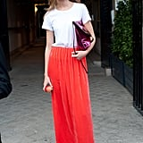 Ahh, the power of a brilliant hue. This maxi is simple, but lends style power to a white t-shirt.