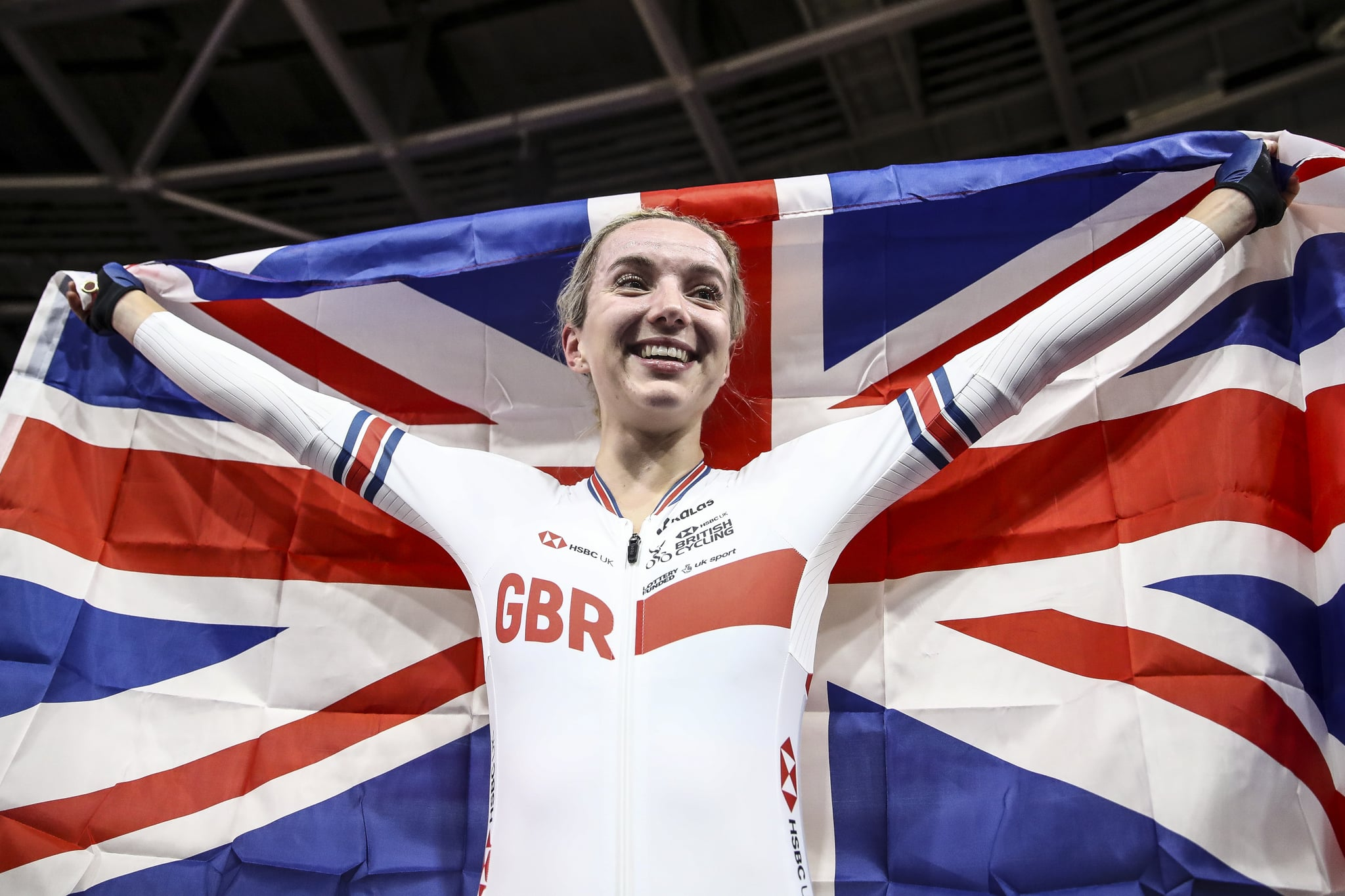 BERLIN, GERMANY - MARCH 01: Elinor Barker of Great Britain celebrates after winning Women's Points Race during day 5 of the UCI Track Cycling World Championships Berlin at Velodrom on March 01, 2020 in Berlin, Germany. (Photo by Maja Hitij/Getty Images)