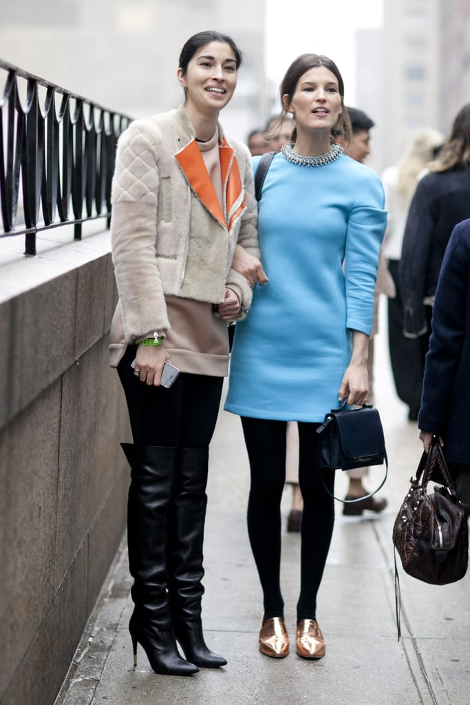 Caroline Issa and Hanneli were on the same page as far as pops of cool hues go.